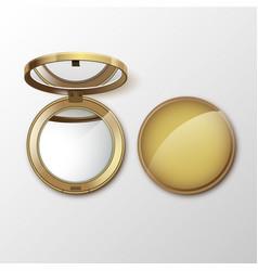 Golden pocket cosmetic make up small mirror vector