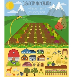 Great city map creator village farm countryside vector