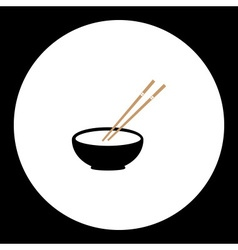 Japan bowl with two wooden chopsticks set eps10 vector