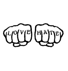 love hate tattoo vector image vector image