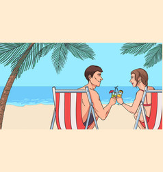 Oncept of relaxing on beach young couple in love vector