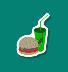 Paper sticker burger and soda vector