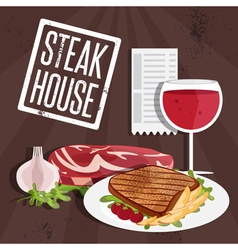 steak house with meat and wine vector image vector image
