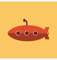 Submarine transportation flat icon vector