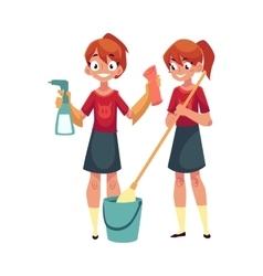 Teenage girl cleaning house washing floors vector