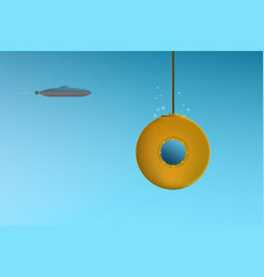 Two cartoon submarine first one floats underwater vector