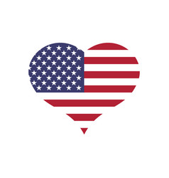 usa flag in a shape of heart patriotic national vector image vector image