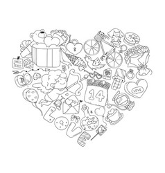 valentine icon set freehand drawing vector image vector image