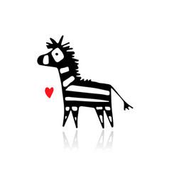 zebra sketch for your design vector image
