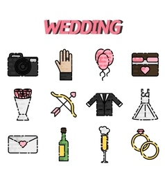 Wedding flat icon set vector
