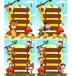 Wooden signs with monkeys and bees vector image