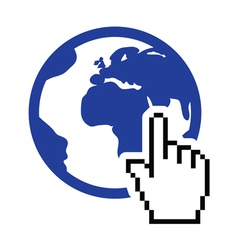 Globe earth with cursor hand icon vector