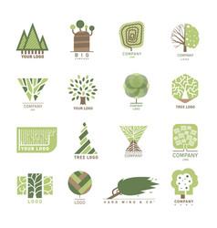 Tree wood oak design element badge modern vector