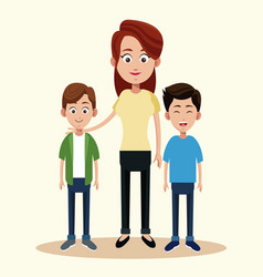 Mother with two boys relation vector