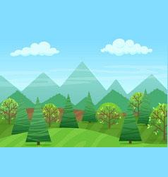 The peaceful green landscape with mountains and vector