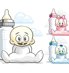 Babies and feeding bottle vector