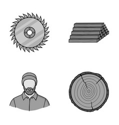 Circular saw a working carpenter a stack of logs vector