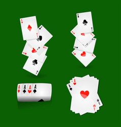 Play cards combinations with aces on green field vector