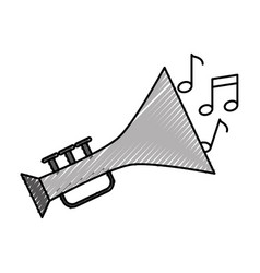 Trumpet musical instrument with notes vector