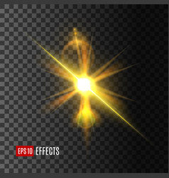 light effect of golden shine with lens flare vector image