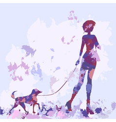 Silhouette watercolor lilac dog vector