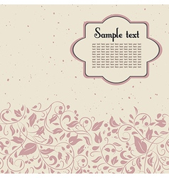 Postcard in pink and beige colours with floral or vector