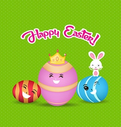 Happy easter eggs and bunny greeting card vector
