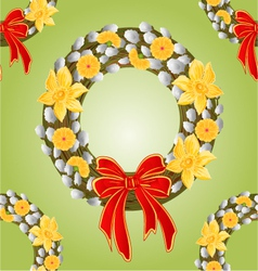 Seamless texture wreath with pussy willow vector