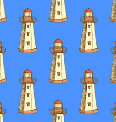 Sketch cute lighthouse in vintage style vector