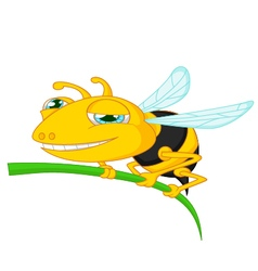 Bee cartoon holding tree vector image