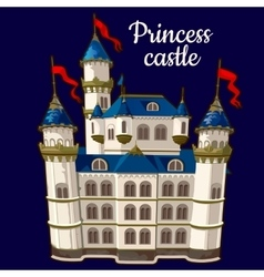 Princess castle on a blue background vector