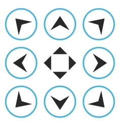 Circled arrowheads flat icon set vector