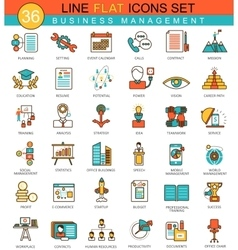 Business management flat line icon set vector