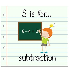 Flashcard letter s is for subtraction vector