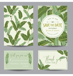 Save the date card tropical banana leaves wedding vector