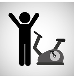 Person and stationary bicycle vector