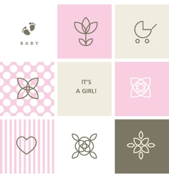 Baby shower design elements for baby shower vector