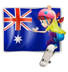 A girl skateboarding in front of the Australian vector image
