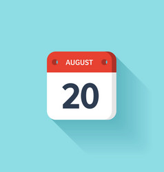 August 20 Isometric Calendar Icon With Shadow vector image vector image