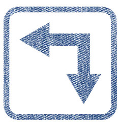Bifurcation arrow left down fabric textured icon vector