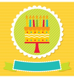 birthday card with a cake and candles vector image vector image