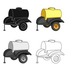 Black trailer on wheels with yellow barrel vector