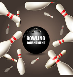 Bowling tournament invitation card - frame vector