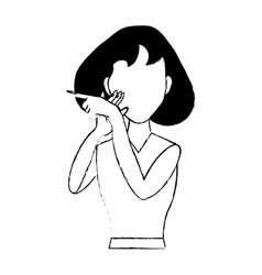 Character woman standing gesture vector