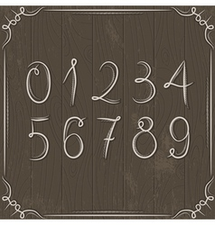 Floral decorative borders and numbers on wooden ba vector
