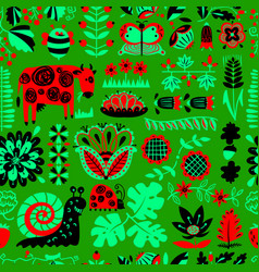 Floral seamless pattern with animals and insects vector