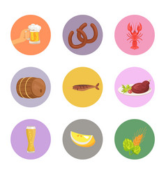 Food and drinks on white vector