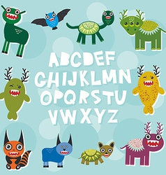 Funny monsters party card design alphabet from A vector image