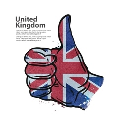 hand gesture thumb up flag of England vector image vector image
