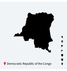 High detailed map of democratic republic congo vector